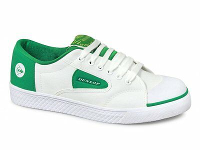 Dunlop GREEN FLASH Unisex Retro Trainers White/Green Mens Boys Canvas Plimsolls