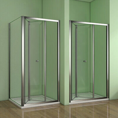 Bifold Shower Enclosure Walk In Glass Cubicle Door Screen Panel Stone Tray Waste