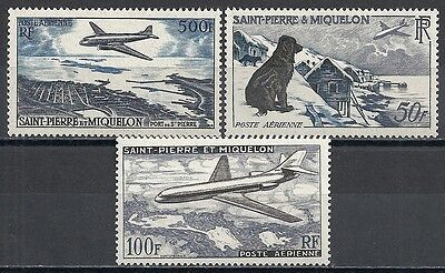 St.Pierre&Miquelon stamps 1956 YV Airmail 23-25  MLH VF