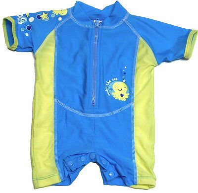 Baby Boys Sunsuit Size 00 0 1 2 Blue Swimwear Bathers Swimsuit Togs Yabby New!