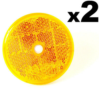 2x E-Approved Round Circular Reflectors Amber 60mm Van Caravan Trailer