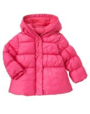 GYMBOREE POLAR PINK NAVY w// PINK STARS HOODED PUFFER JACKET 6 12 2T 3T NWT