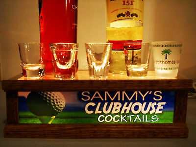 GOLFERS CLUBHOUSE shot glass / liquor bottle display PERSONALIZED SOLID OAK