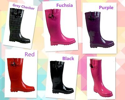 Wellies Gum Boots Black Red Purple Checker Fuchsia GumBoots Size 5 6 7 8 9 10 11
