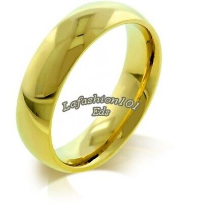 5MM WOMENS IPG Gold STAINLESS STEEL WEDDING BAND RING SIZE 7 -r10162