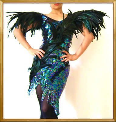 Custom Black Feather Lady Gaga Drag Queen Dance Dress