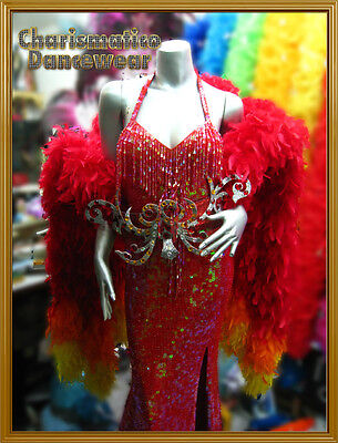 Red Sequin Drag Cabaret Feather Shoulder Pageant Gown