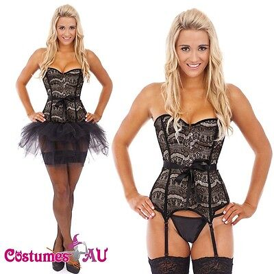 Ladies Burlesque Boned Corset Dress Up Costume Showgirl Bustier Tutu Skirt