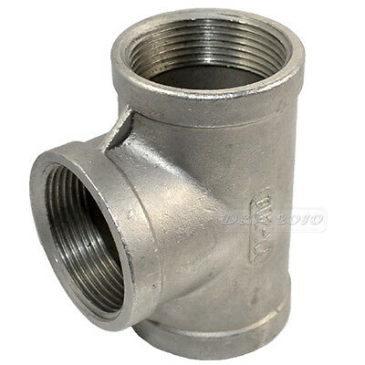 """Tee 1 1/2"""" 1.5"""" 3 way Female 304 Stainless Steel Pipe fitting threaded SS"""