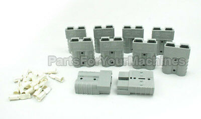 10 CHARGER PLUGS w/ 8 GAUGE (#8 AWG) CONTACTS,SB50A 600V,SMALL GRAY, VO MATERIAL