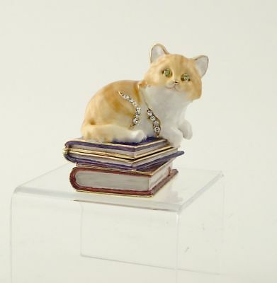Kitten On Books Pewter Austrian Crystal Jewelry Box
