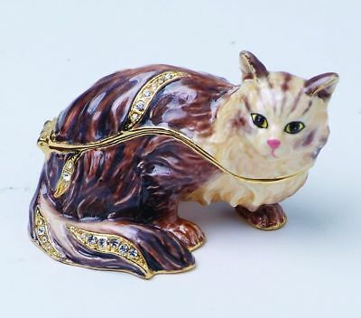 Cute Cat Enameled Pewter Austrian Crystal Jewelry Box