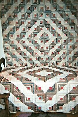 "Two (2)  ""BARNRAISING"" Log Cabin QUILTS:  c. 1880-1890. An odd Pair.  Cottons."