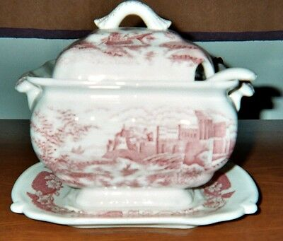 English Transferware TUREEN, 4 pieces.: Bowl, Lid, Platter, Ladle. Red on White.