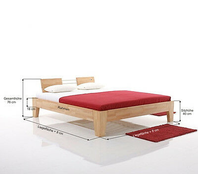 doppelbett 200 x 220 cm betten holzbett bergr e neu. Black Bedroom Furniture Sets. Home Design Ideas