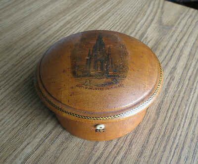 Antique MAUCHLINE WARE SEWING THREAD BOX - SCOTT MONUMENT EDINBURGH - Nice