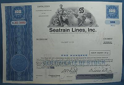 Vintage Seatrain Lines Inc DE Stock Certificate 1971 Shipping 100 Capital Shares