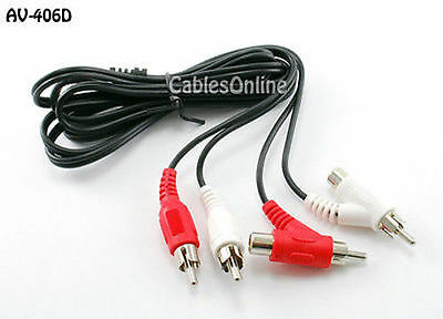 6ft. 2RCA Male to 2RCA Male + 2RCA Female Piggy-Back Stereo Audio Cable, AV-406D