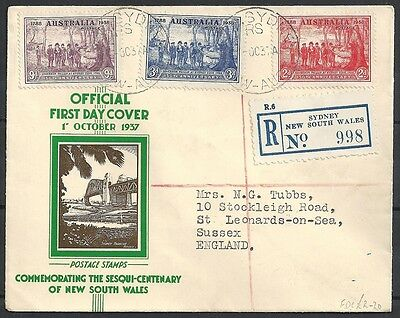 Australia covers 1937 R-FDCcover Sydney to UK