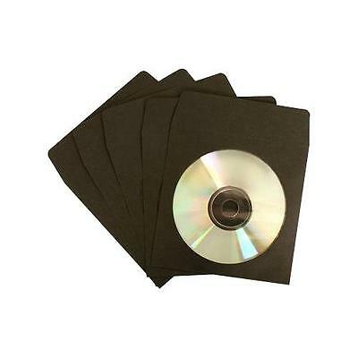 2000 Premium Black CD DVD R Disc Paper Sleeve Envelope Clear Window Flap