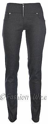 Ladies Work Girls School Trousers Sizes 6 8 10 12 14 Skinny Leg Black Grey S8