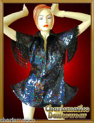 Charismatico BLACK CUSTOM GAGA SEQUIN BURLESQUE Drag QUEEN DIVA Jacket SUIT