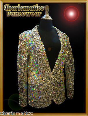 Charismatico Custom Silver Sequin Dance Cabaret Show Dance Men Tuxedo Suit