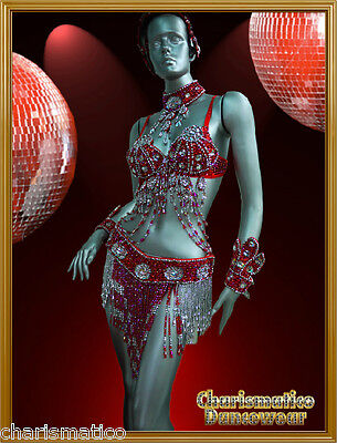 CHARISMATICO CUSTOM RED DIva SEQUIN CLUB BELLY DANCE GOGO EXOTIC  BRA + BELT SET