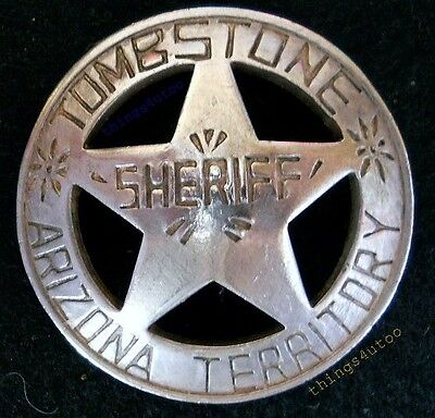 Sheriff Tombstone Arizona western silver lawman badge #BW5