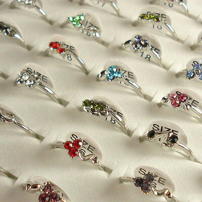 Wholesale Lots of 50PCS Silver Plated Rhinestone Crystal Rings 50A11