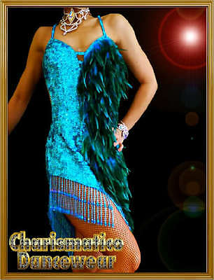BLUE Feather DRAG QUEEN SALSA EXOTIC STAGE dance dress