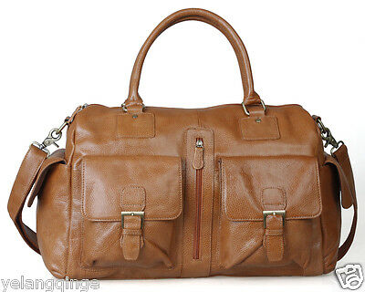 men women Genuine Cowhide Leather Duffle Gym Bags Tote Luggage Messenger travel