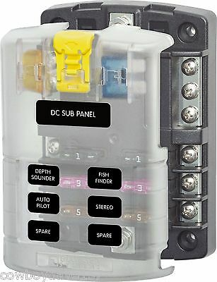 Blue Seas 5025 B 6 Position Fuse Block Cover & Negative Bus Blue Sea Fuse Panel
