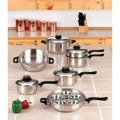 World's Finest 7-Ply Steam Control 17pc 304 Stainless Steel Cookware Set