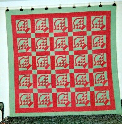 """Red on Green AMISH """"BASKETS"""" Quilt: 76"""" x 76"""", c. 1920-1930, from PA/OH. Cottons"""