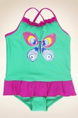 Marks & Spencer INDIGO Baby Girl Scoop Neck Butterfly Print Frill Swimsuit NWT