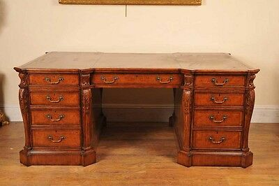 Walnut Victorian Partners Desk Writing Tables Office