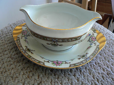 Union Ceramique Limoges gravy boat with underplate (Laffayette) 1 available
