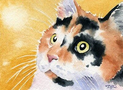 CALICO CAT  Watercolor 8 x 10 ART Print Signed by Artist DJR