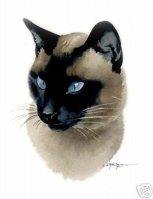 SIAMESE CAT Watercolor 8 x 10 ART Print Signed by Artist DJR