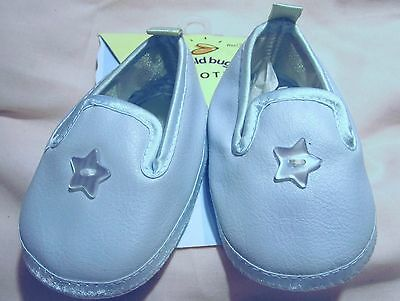 Baby Dedication Crib Shoes Booties LT BLUE Pleather Satin 0-4 Mo Star Button MOC