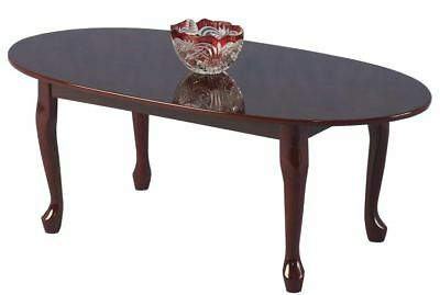 Coffee Table Queen Anne Mahogany Traditional Antique Oval Top Gloss Finish
