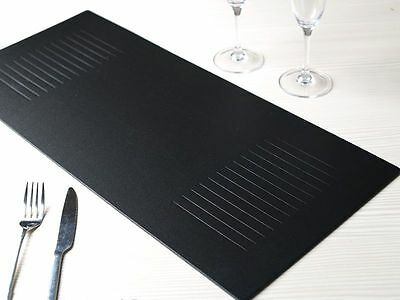 BLACK Embossed Bonded Leather TABLE RUNNER by Creative Tops