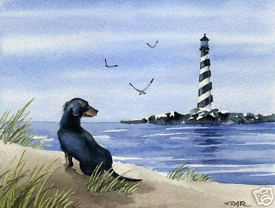 DACHSHUND Dog BEACH Watercolor 8 x 10 ART Print Signed DJR