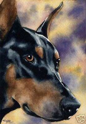 DOBERMAN PINSCHER Painting Dog 8 x 10 ART Print Signed DJR