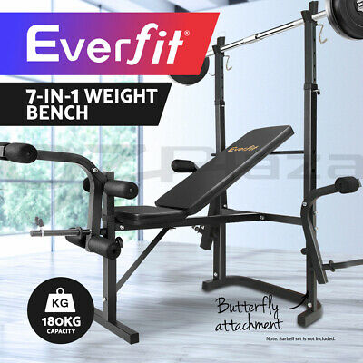 Everfit Multi-Station Weight Bench Press Fitness Weights Equipment Incline Balck