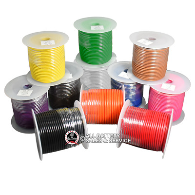 12 Gauge Primary Wire : Copper Stranded : 12-100' Spools : CHOOSE YOUR COLORS