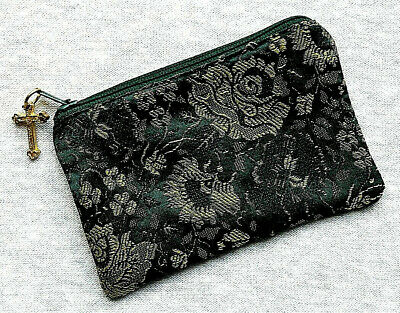 Green Rose Brocade Rosary Pouch