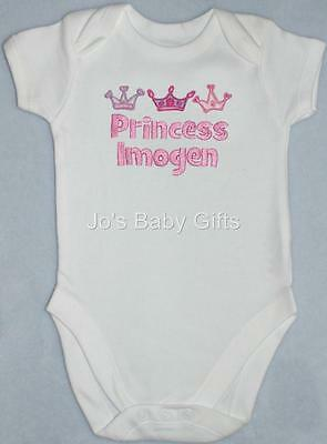 Personalised Baby/Toddler CROWN design Vest/Bodysuit, Great Gift for Girls