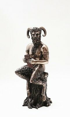 Pan With Flute Statue Home Decor Bronze Finish